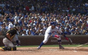 Javier Baez throws his bat at baseball for odd RBI single